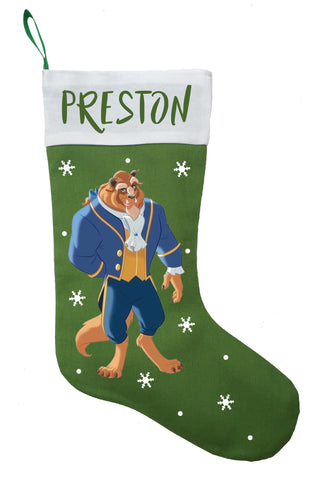Beast Christmas Stocking - Personalized and Hand Made Beauty and the Beast Christmas Stocking