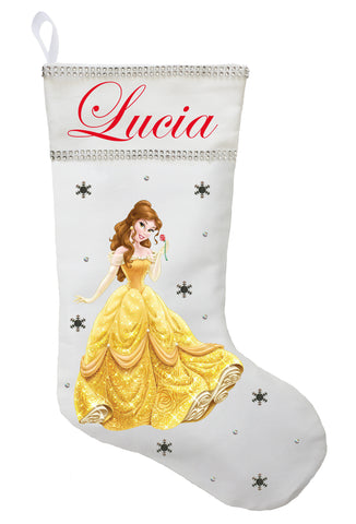 Belle Christmas Stocking - Personalized and Hand Made Belle Christmas Stocking