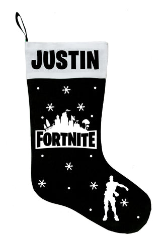 Fortnite Christmas Stocking - Personalized and Hand Made Fortnite Stocking - Black, Green, Red or White