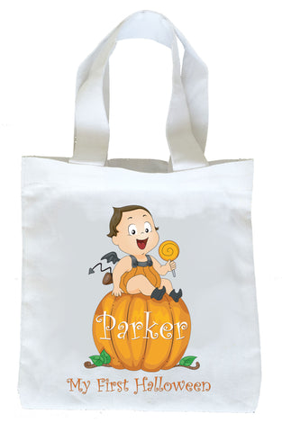 My First Halloween Trick or Treat Bag, Personalized First Halloween Bag, Boys First Halloween Loot Bag, Boys First Halloween Bag