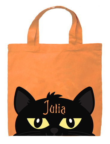 Cat Trick or Treat Bag - Personalized Cat Girl Halloween Bag