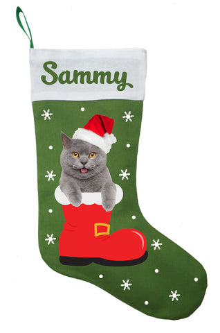 Chartreux Cat Christmas Stocking - Personalized and Hand Made Chartreux Stocking - Green, Red or White