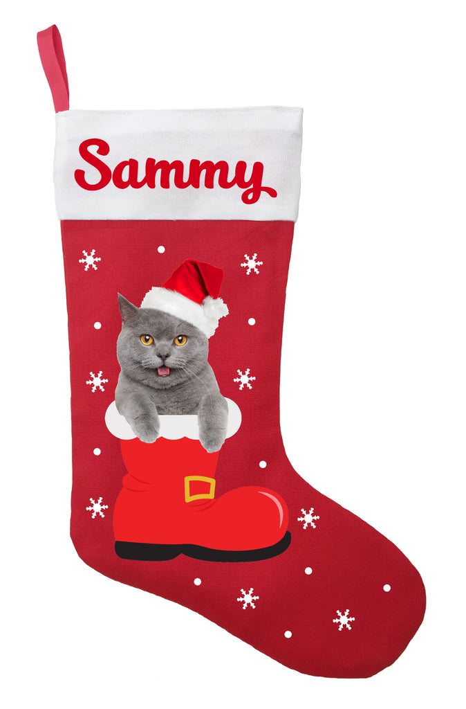 Cat Christmas Stockings.Chartreux Cat Christmas Stocking Personalized And Hand Made Chartreux Stocking Green Red Or White
