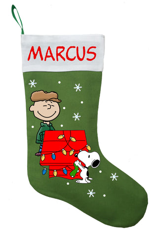 Charlie Brown Christmas Stocking - Personalized and Hand Made Charlie Brown Christmas Stocking