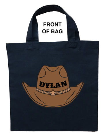 Cowboy Trick or Treat Bag, Personalized Cowboy Halloween Loot Bag, Cowboy Candy Bag, Custom Cowboy Bag