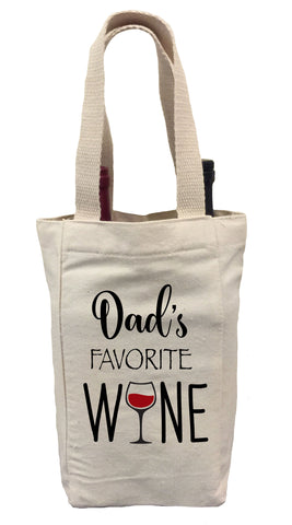 Dad's Favorite Wine Tote Bag, Father's Day Wine Gift Bag