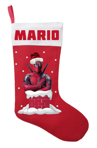 Deadpool Christmas Stocking - Personalized and Hand Made Deadpool Christmas Stocking
