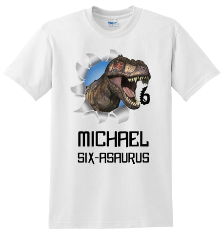 T-Rex Dinosaur Birthday Shirt, Personalized with Name and Age