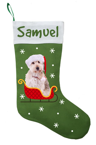Doodle Dog Christmas Stocking - Personalized and Hand Made Doodle Stocking - Green, Red or White