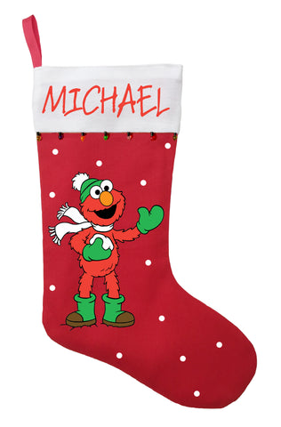 Elmo Christmas Stocking - Personalized and Hand Made Elmo Christmas Stocking