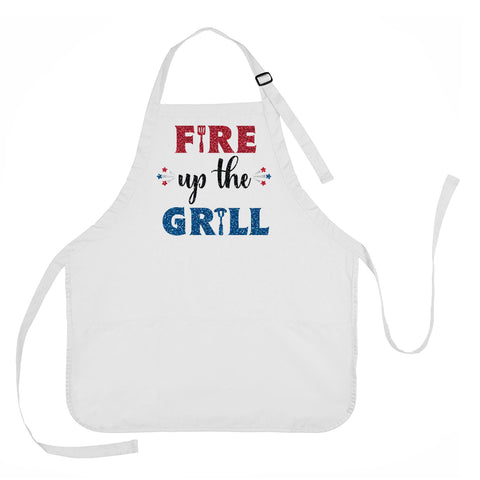 Fire Up The Grill Apron, 4th of July Apron, Summer Grilling Apron