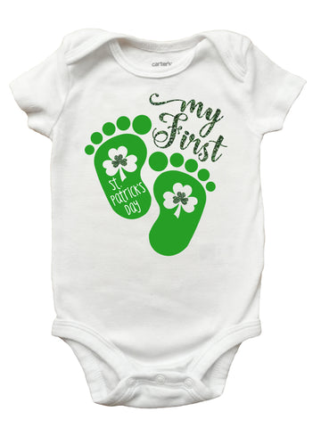 First St Patricks Day Onesie, My First St Patricks Day Onesie for Girls, My First St. Patrick's Day Onesie
