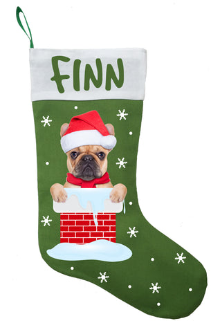 French Bulldog Christmas Stocking - Personalized and Hand Made French Bulldog Stocking - Green