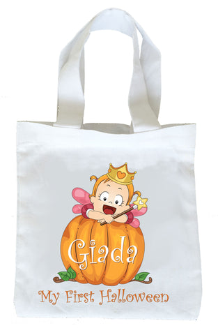 My First Halloween Trick or Treat Bag, Personalized First Halloween Bag, Girls First Halloween Loot Bag, Girls First Halloween Bag, Girls First Halloween Trick or Treat Bag