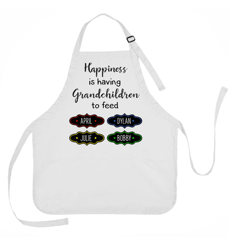 Mother's Day Apron, Grandmother Apron, Happiness is Having Grandchildren to Feed Apron, Personalized Grandmother Apron
