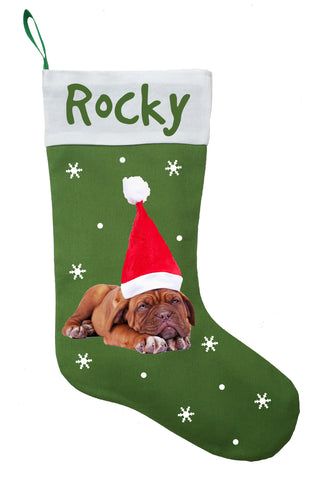 Dogue de Bordeaux Christmas Stocking - Personalized and Hand Made Dogue de Bordeaux Stocking - Green, Red or White