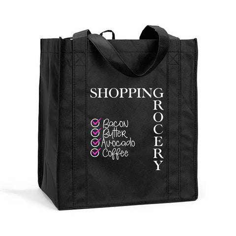 Reusable Shopping Bag, Reusable Food Shopping Bag, Reusable Grocery Bag, Food Checklist Shopping Bag