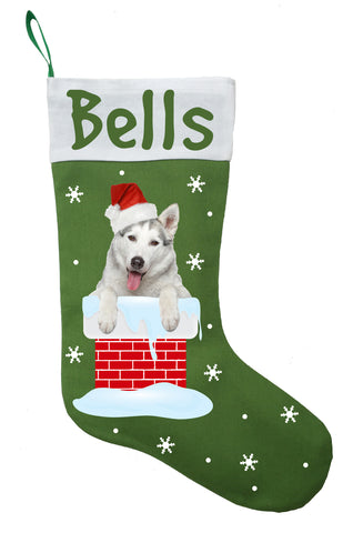 Siberian Husky Christmas Stocking - Personalized and Hand Made Husky Stocking - Green, Red or White
