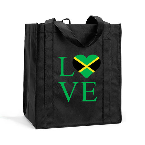 I Love Jamaica Shopping Bag, I Love Jamaica Grocery Bag, I Love Jamaica Resuasable Shopping Tote, I Love Jamaica Bag
