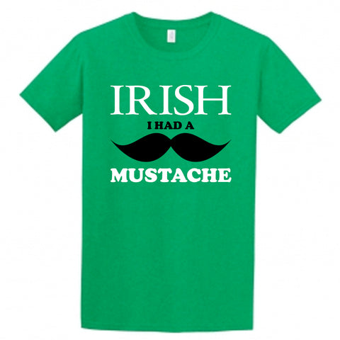 Irish I Had a Mustache Children's T-Shirt, St. Patricks Day Irish Shirt for Kids
