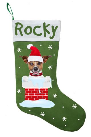 Jack Russell Terrier Christmas Stocking - Personalized and Hand Made Jack Russell Terrier Stocking - Green