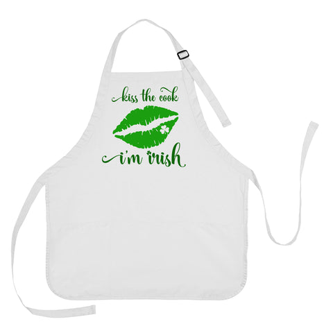 Kiss the Cook I'm Irish Apron, St Patricks Day Apron, St Patricks Day Apron for Mom, Irish Apron, St Patricks Day Gift, Kiss the Cook I'm Irish