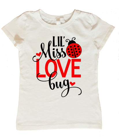 Valentines Day Shirt for Girls, Lil Miss Love Bug Shirt, Girls Valentines Day Shirt, Lil Miss Love Bug Valentines Day Shirt