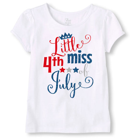 4th of July Shirt for Girls, Little Miss 4th of July Shirt, Fourth of July Shirt