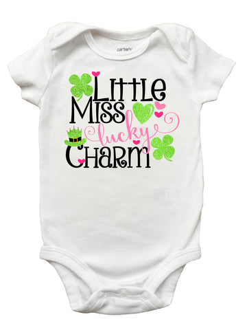 Little Miss Lucky Charm Children's T-Shirt, St. Patricks Day Shirt for Kids