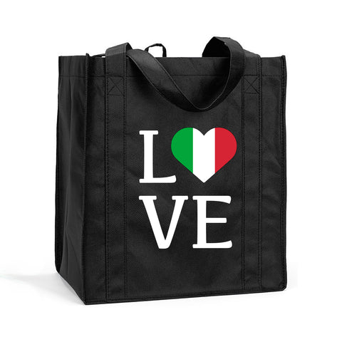 I Love Italy Shopping Bag, I Love Italy Grocery Bag, I Love Italia Resuasable Shopping Tote, I Love Italy Bag