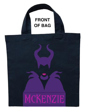 Maleficent Trick or Treat Bag - Personalized with Pink and Purple Colors on a Black Bag
