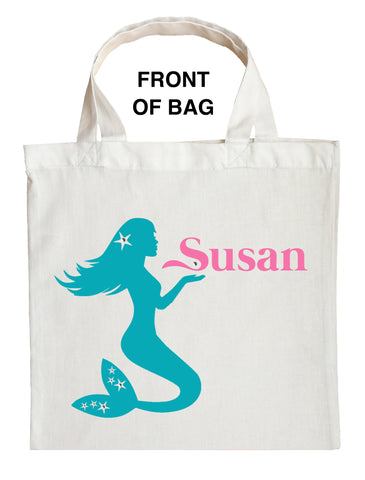 Mermaid Trick or Treat Bag, Personalized Mermaid Halloween Bag, Mermaid Loot Bag