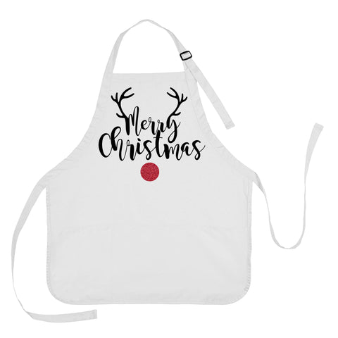 Merry Christmas Apron, Merry Christmas Cooking Apron, Reindeer Apron, Apron Gift