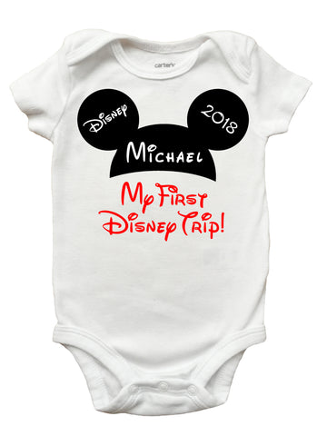 My First Disney Trip One Piece Bodysuit - First Disney Shirt for Baby Girls and Boys (Sizes Newborn - 18 Months)