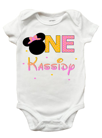 Minnie Mouse First Birthday One Piece Bodysuit - Personalized Minnie Mouse Onesie for Baby Girls (Sizes Newborn - 18 Months)