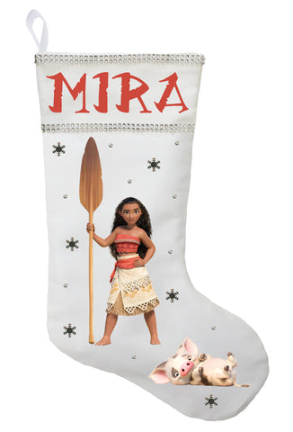 Moana Christmas Stocking - Personalized and Hand Princess Moana Christmas Stocking