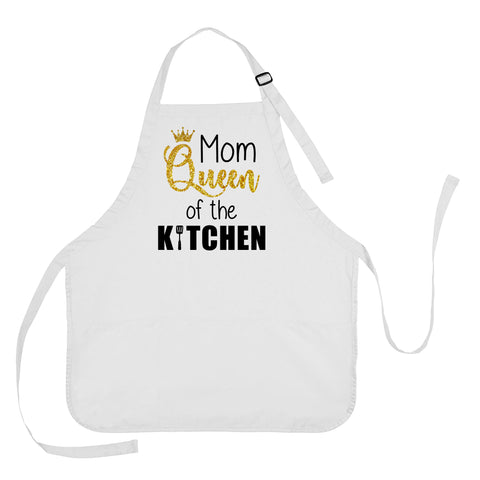 Mom Queen of the Kitchen Apron, Mom Queen of the Kitchen Gift, Mother's Day Apron, Apron Gift for Mom, Mom Queen of the Kitchen Cooking Apron