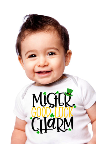 Mr Good Luck Charm Children's T-Shirt, St. Patricks Day Good Luck Charm Romper