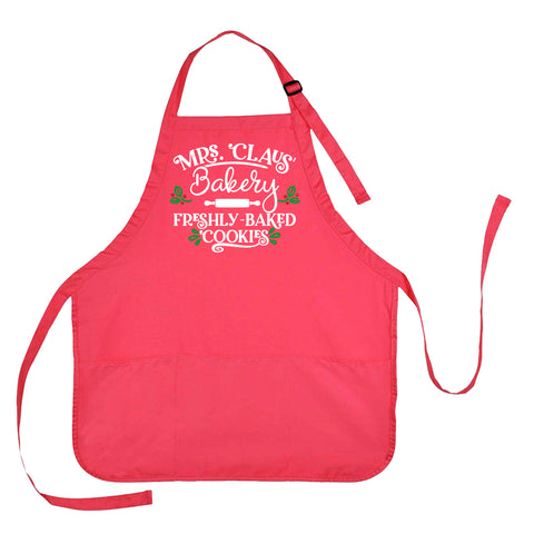 Mrs. Claus Apron, Mrs. Claus Bakery Apron, Mrs. Claus Freshly Baked Cookies Apron, Christmas Baking Apron, Christmas Apron