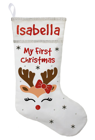 First Christmas Stocking, Baby's First Christmas Stocking, Baby Girls First Christmas Stocking - Red or White