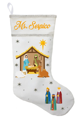 Nativity Christmas Stocking - Personalized and Hand Made Jesus Christmas Stocking