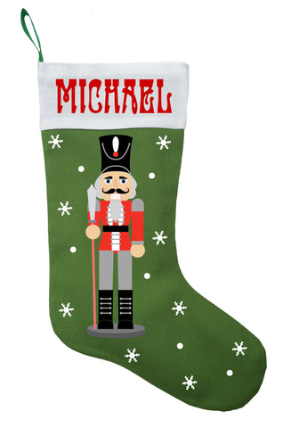 Nutcracker Christmas Stocking - Personalized and Hand Made Nutcracker Stocking in Green, Red or White