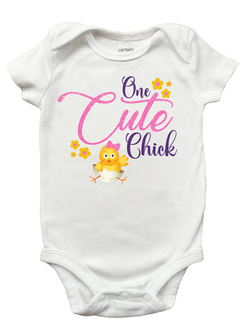 One Cute Chick Easter Shirt, Chick Easter Shirt for Girls, Girls Easter Onesie