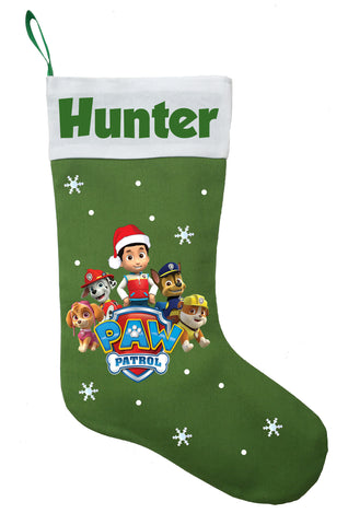 Paw Patrol Christmas Stocking - Personalized and Hand Made Paw Patrol Christmas Stocking