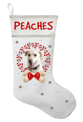 Personalized Pet Photo Christmas Stocking - Available in White, Red or Green