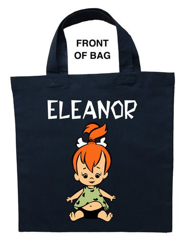 Pebbles Trick or Treat Bag, Personalized Pebbles Halloween Bag, Pebbles Loot Bag