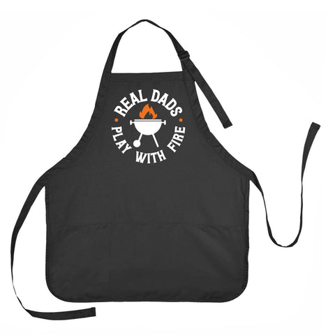 Real Dad's Play with Fire Apron, Father's Day Apron, Mens Grilling Apron