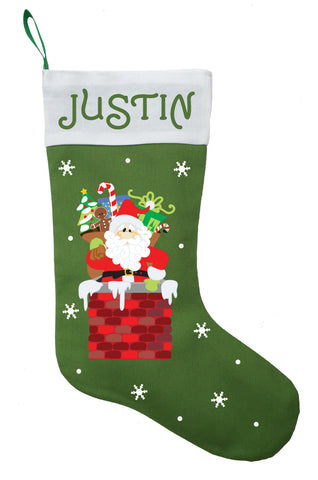 Santa Claus Christmas Stocking, Santa Claus Stocking, Personalized Santa Claus Stocking, Santa in Chimney Stocking