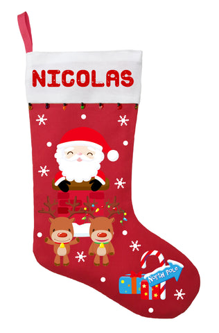 Santa Claus Christmas Stocking - Personalized Santa Stocking with his Reindeer