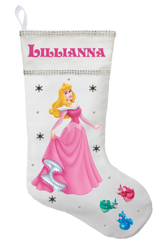 Sleeping Beauty Christmas Stocking - Personalized and Hand Made Aurora Christmas Stocking